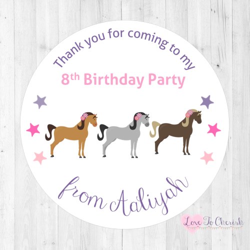 Horses Trio Personalised Birthday Party Stickers | Love To Cherish