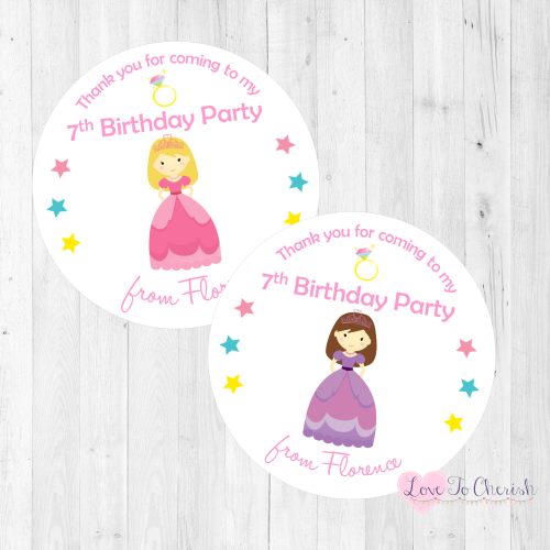 Princess Personalised Birthday Party Stickers | Love To Cherish