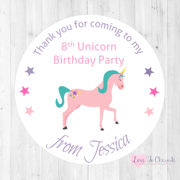Unicorn Personalised Birthday Party Stickers