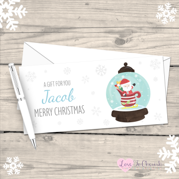 Santa Snowglobe Boy's Personalised Christmas Money/Gift Wallet - Blue