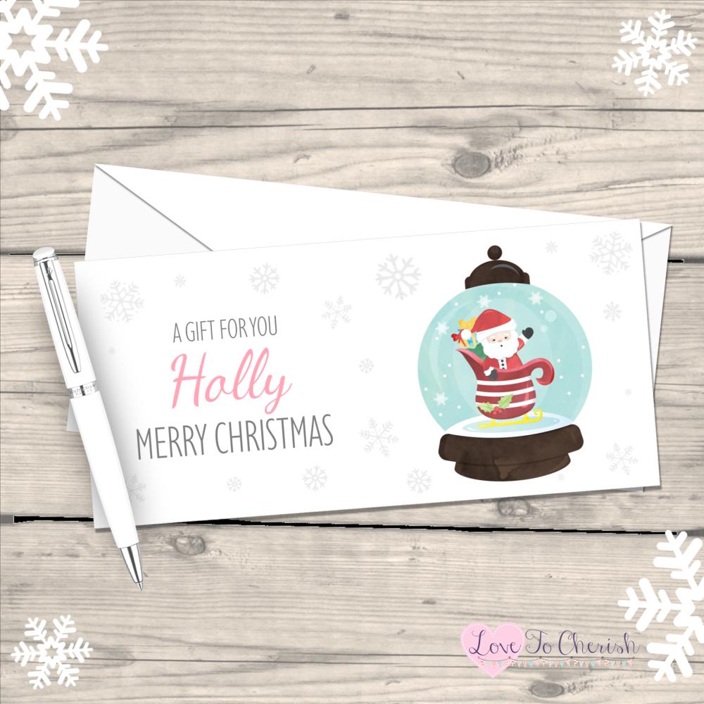 </010>Santa Snowglobe Boy's Personalised Christmas Money/Gift Wallet - Pink