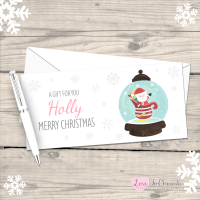 </010>Santa Snowglobe Girl's Personalised Christmas Money/Gift Wallet - Pink