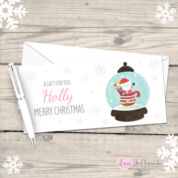 Santa Snowglobe Girl's Personalised Christmas Money/Gift Wallet - Pink