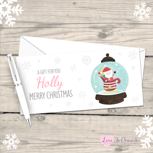 </010>Santa Snowglobe Boy's Personalised Christmas Money/Gift Wallet - Pink