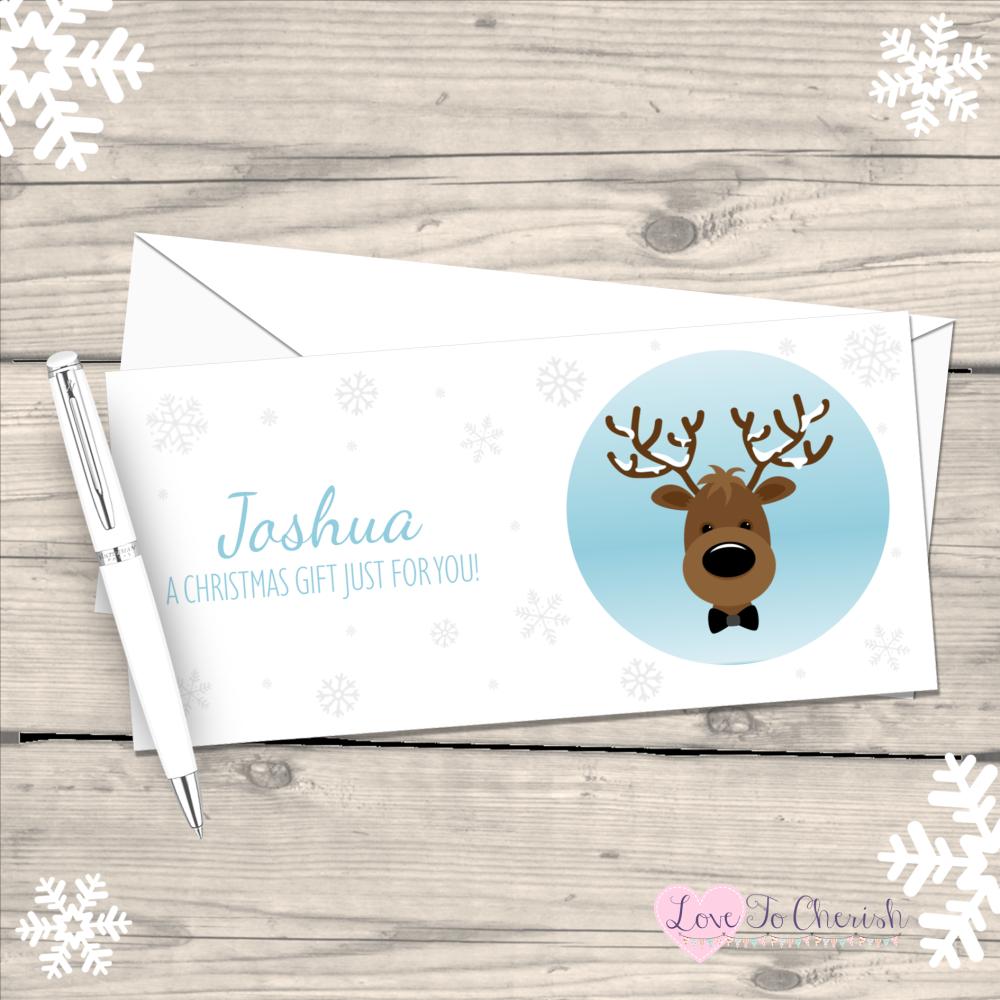 </011>Reindeer Boy's Personalised Christmas Money/Gift Wallet - Blue
