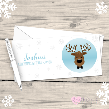 Reindeer Boy's Personalised Christmas Money/Gift Wallet - Blue