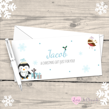 Penguin & Robin Boy's Personalised Christmas Money/Gift Wallet - Blue