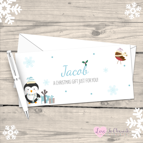 </015>Penguin & Robin Boy's Personalised Christmas Money/Gift Wallet - Blue