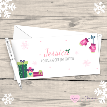 Pink Mittens Girl's Personalised Christmas Money/Gift Wallet