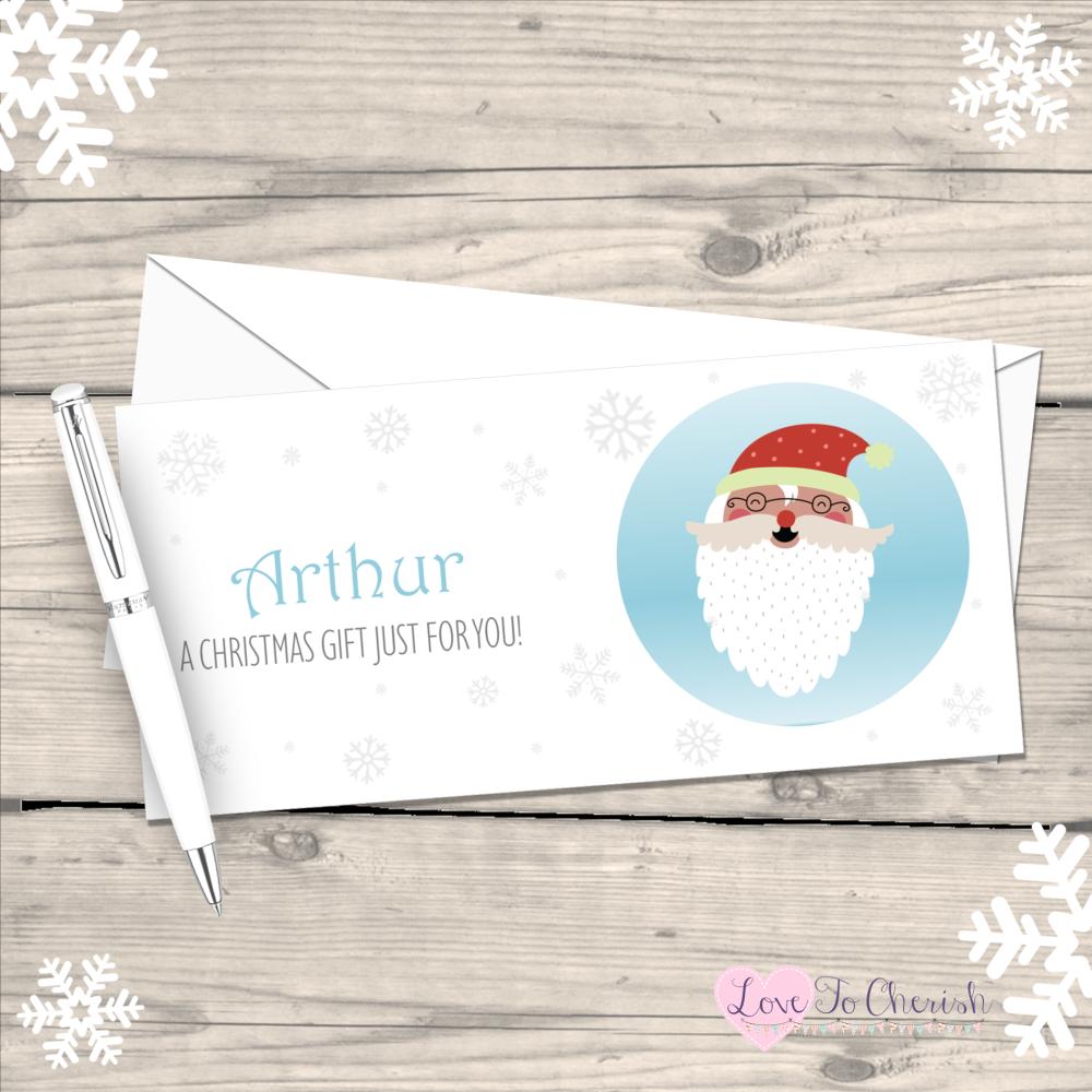 </017>Santa Claus Personalised Christmas Money/Gift Wallet