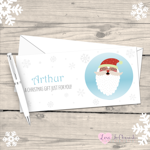 </017>Santa Claus Personalised Christmas Money/Gift Wallet