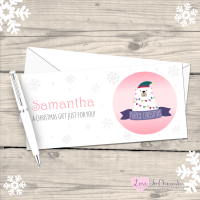 </018>Polar Bear Girl's Personalised Christmas Money/Gift Wallet - Pink