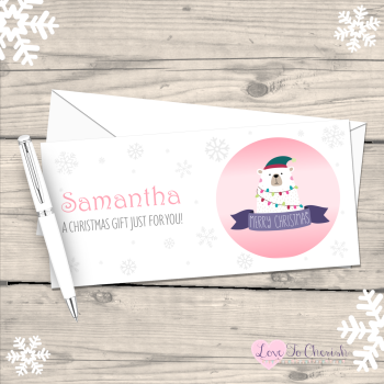 Polar Bear Girl's Personalised Christmas Money/Gift Wallet - Pink