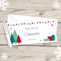 </019>Festive Christmas Trees Personalised Christmas Money/Gift Wallet