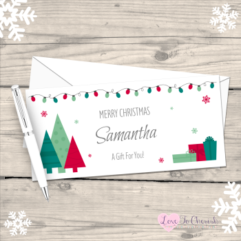 Festive Christmas Trees Personalised Christmas Money/Gift Wallet