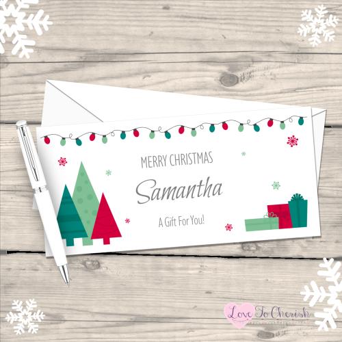 </019>Festive Christmas Trees Personalised Christmas Money/Gift Wallet