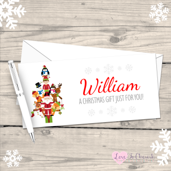 Festive Characters Christmas Trees Personalised Christmas Money/Gift Wallet