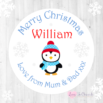 Penguin Boy's Personalised Christmas Stickers (Blue)