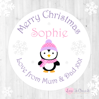 Penguin Girl's Personalised Christmas Stickers (Pink)