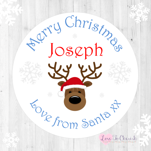 Blue Reindeer Boy's Personalised Christmas Stickers