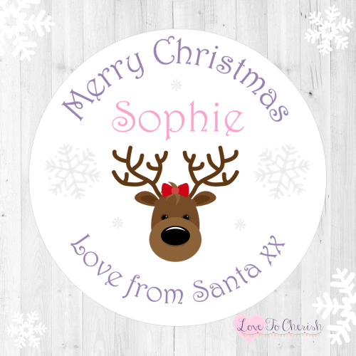 Pink Reindeer Girl's Personalised Christmas Stickers | Love To Cherish