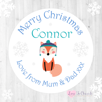 Winter Fox Boy's Personalised Christmas Stickers (Blue)
