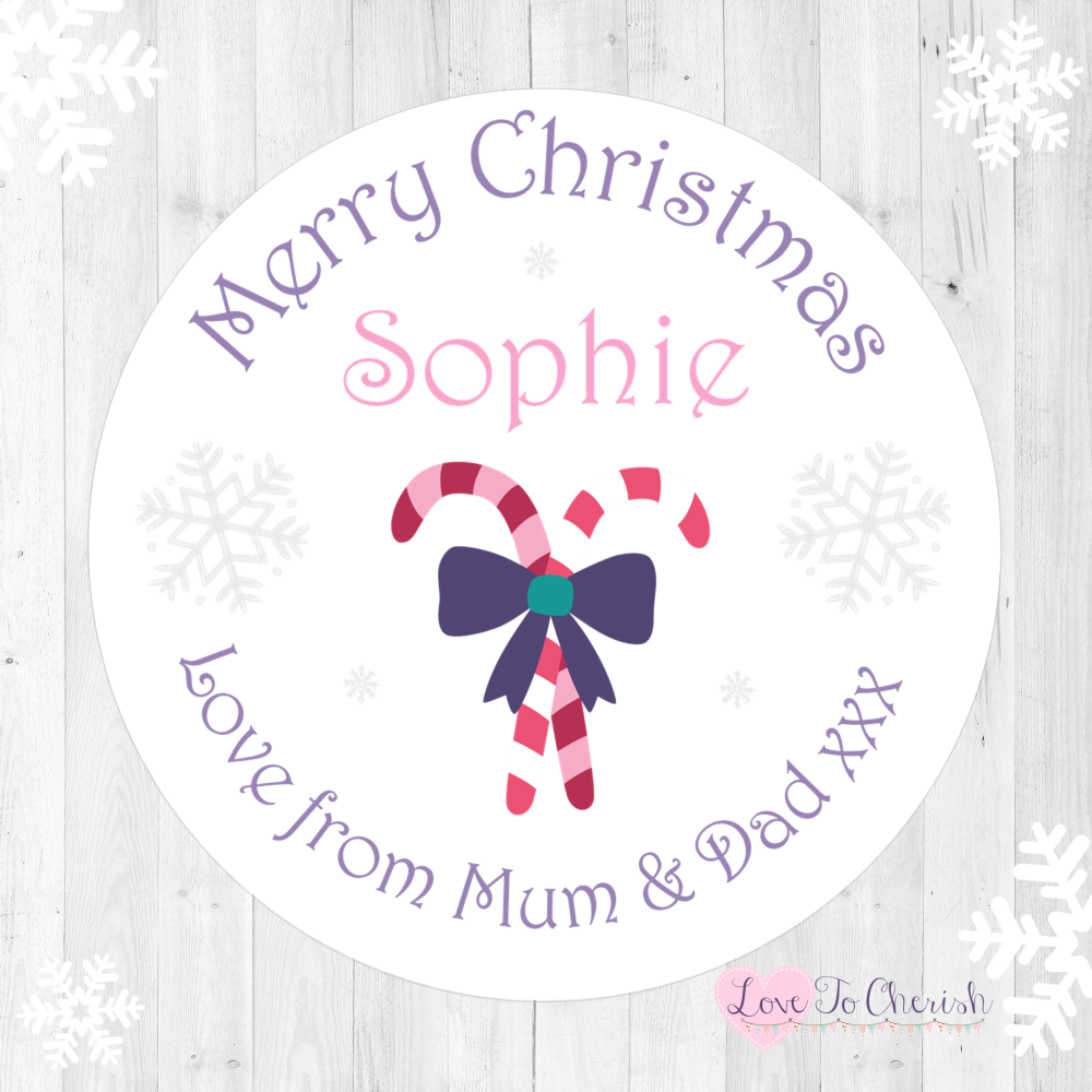 Candy Cane Girl's Personalised Christmas Stickers (Pink) | Love To Cherish