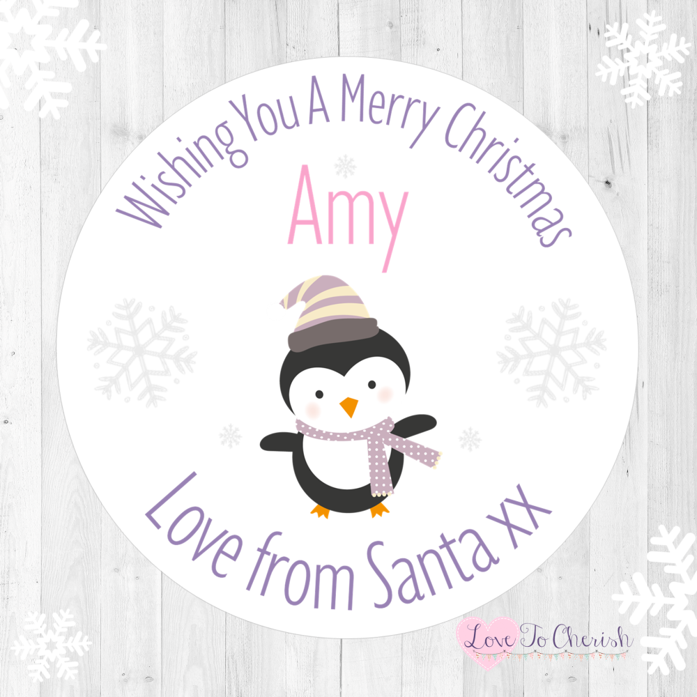 Penguin Girl's Personalised Christmas Stickers (Lilac) | Love To Cherish