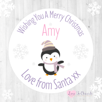 Penguin Girl's Personalised Christmas Stickers (Lilac)