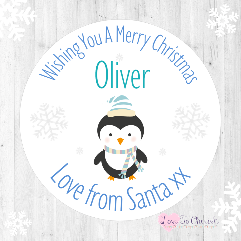 Penguin Boy's Personalised Christmas Stickers (Pale Blue)   Love To Cherish