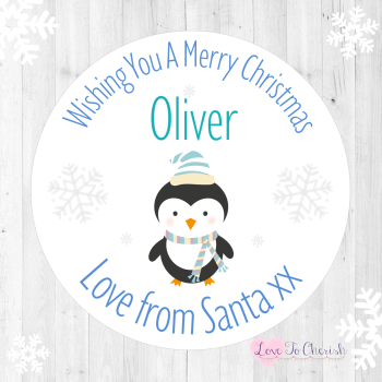 Penguin Boy's Personalised Christmas Stickers (Pale Blue)