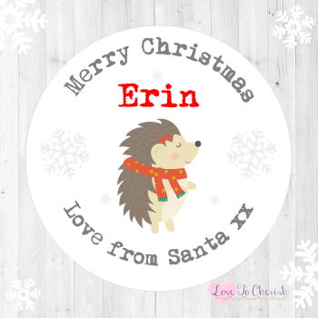 Hedgehog Personalised Christmas Stickers