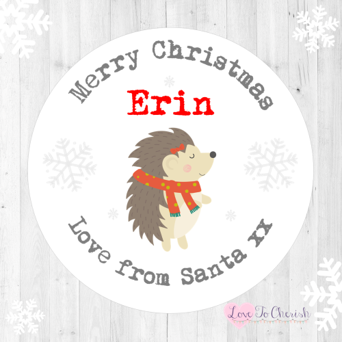 Hedgehog Personalised Christmas Stickers | Love To Cherish
