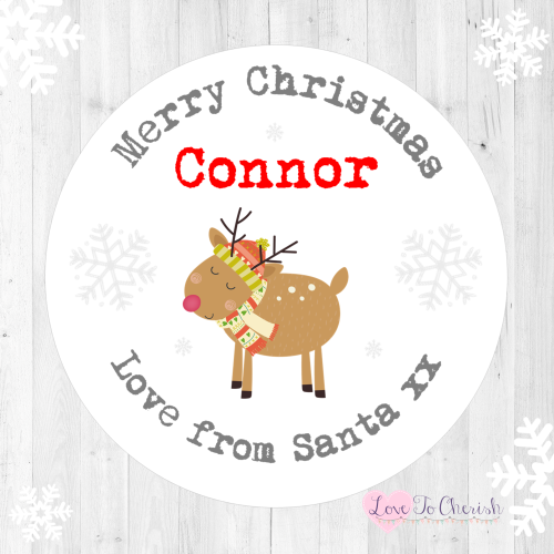 Reindeer Personalised Christmas Stickers | Love To Cherish