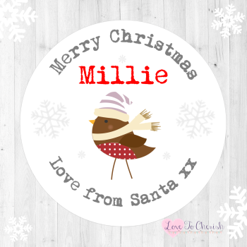 Robin Personalised Christmas Stickers