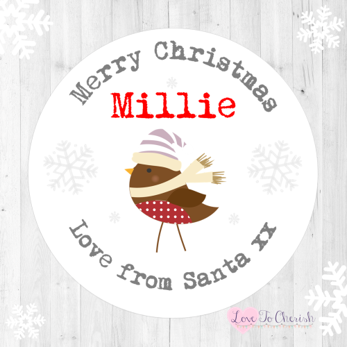 Robin Personalised Christmas Stickers | Love To Cherish