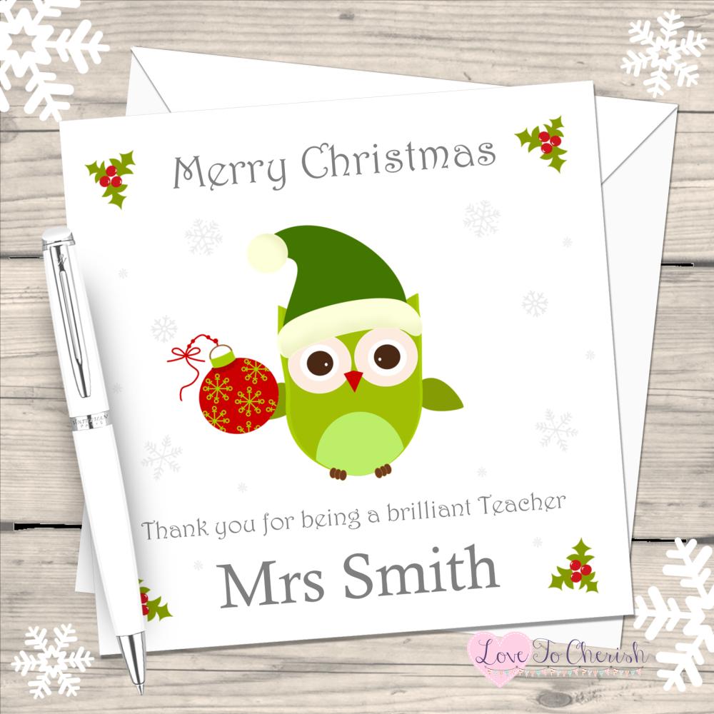 Teacher Owl Personalised Christmas Card