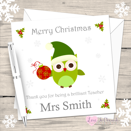 Teacher Owl Personalised Christmas Card