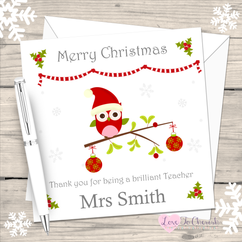 Teacher Owl on branch Personalised Christmas Card