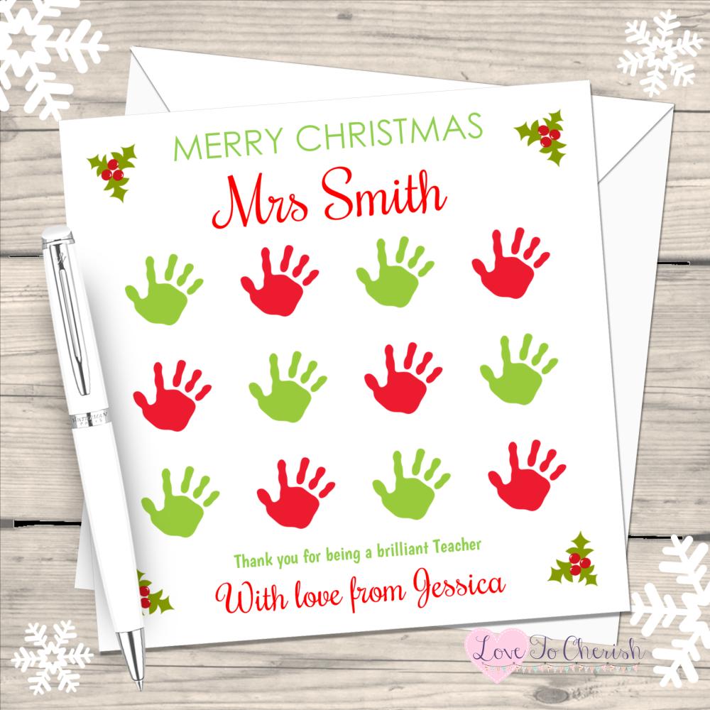 Teacher - Hand Print Grid Personalised Christmas Card