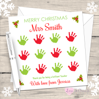 Teacher - Hand Print Grid Personalised Christmas Card