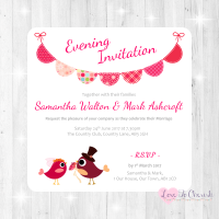 Bride & Groom Cute Love Birds & Bunting Dark Pink Evening Invitations