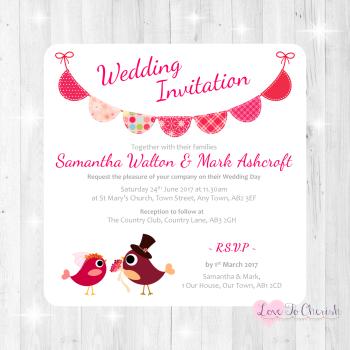 Bride & Groom Cute Love Birds & Bunting Dark Pink Wedding Invitations