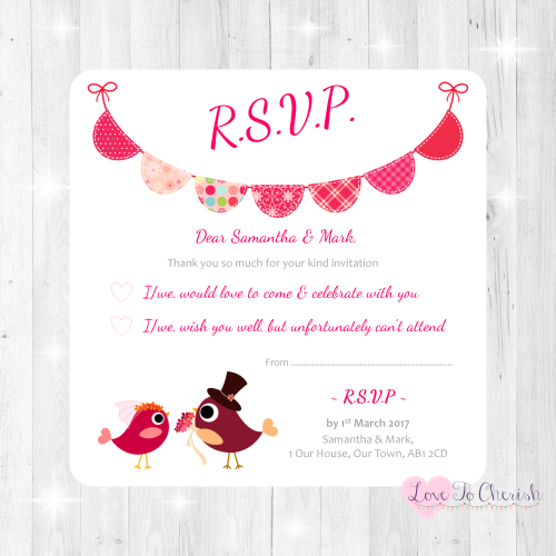 Bride & Groom Cute Love Birds & Bunting Dark Pink Wedding RSVP Cards