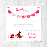 Bride & Groom Cute Love Birds & Bunting Dark Pink Wedding Thank You Cards