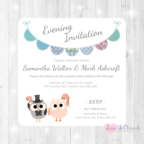 Bride & Groom Cute Owls & Bunting Green/Blue Wedding Evening Invitations