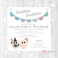 Bride & Groom Cute Owls & Bunting Green/Blue Wedding Invitations