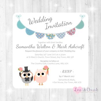 Bride & Groom Cute Owls & Bunting Green/Blue Wedding Invitations