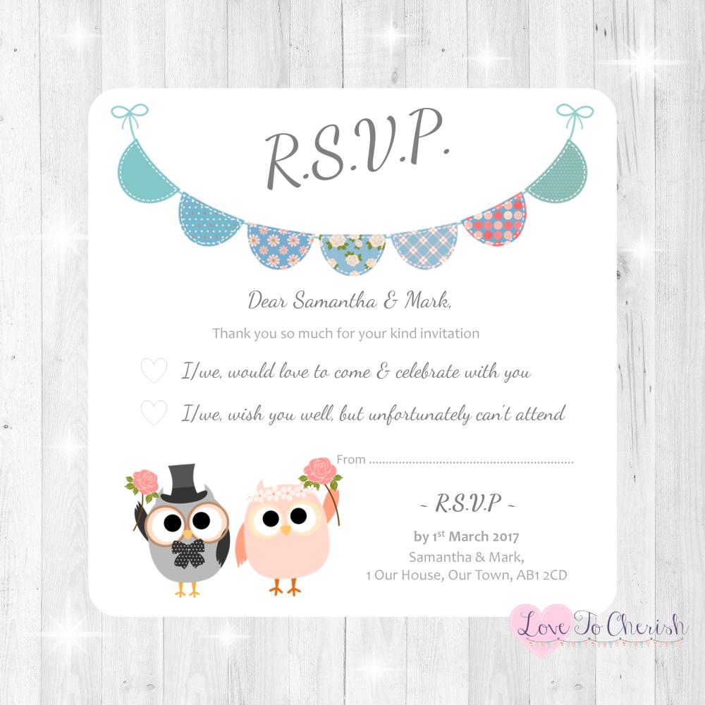 Bride & Groom Cute Owls & Bunting Green/Blue Wedding RSVP Cards