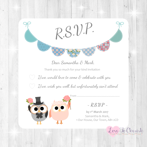 Bride & Groom Cute Owls & Bunting Green/Blue Wedding RSVP Cards